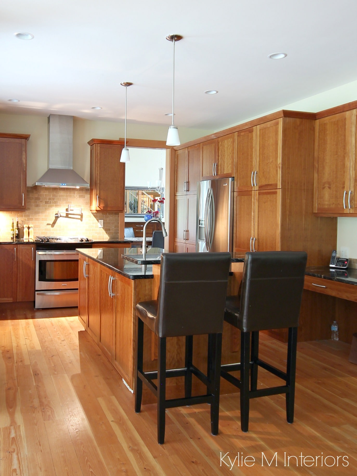 Kitchen, natural cherry cabinets, fir flooring, island ...