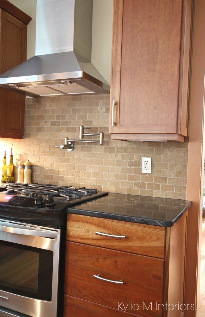Natural Cherry Cabinets Travertine Tile Backsplash Black Granite Countertop Stainless Steel