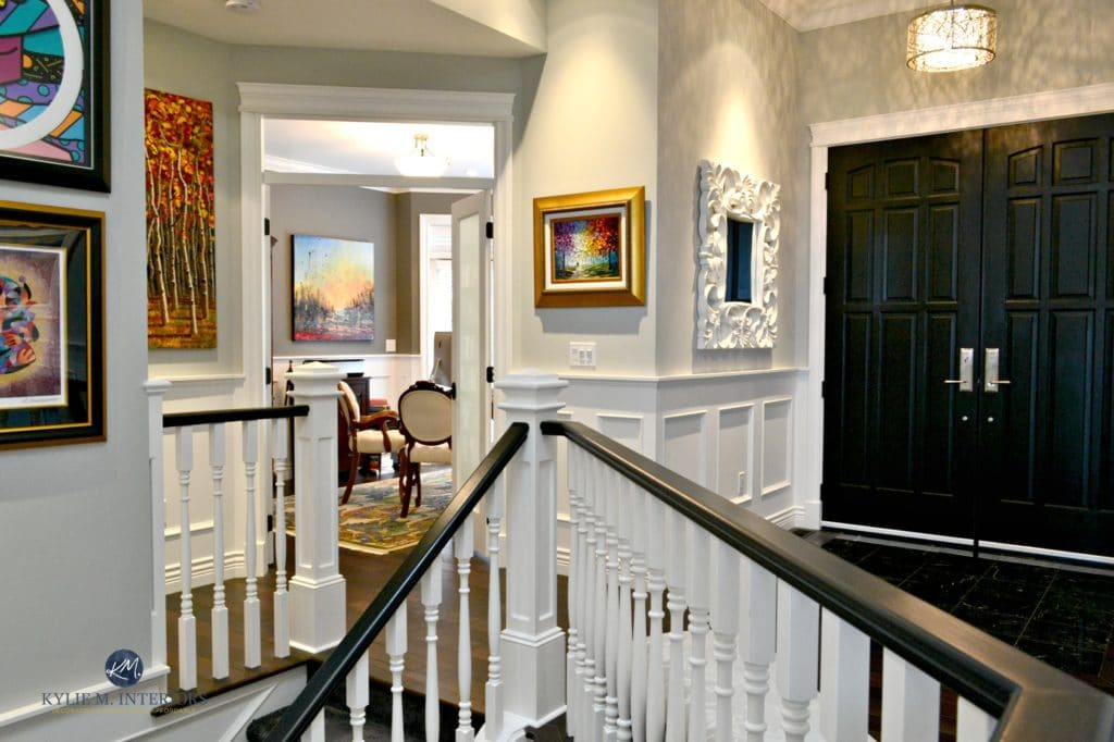 Benjamin Moore Stonington Gray, White And Black Stair Railings,  Wainscoting, Black Front Doors