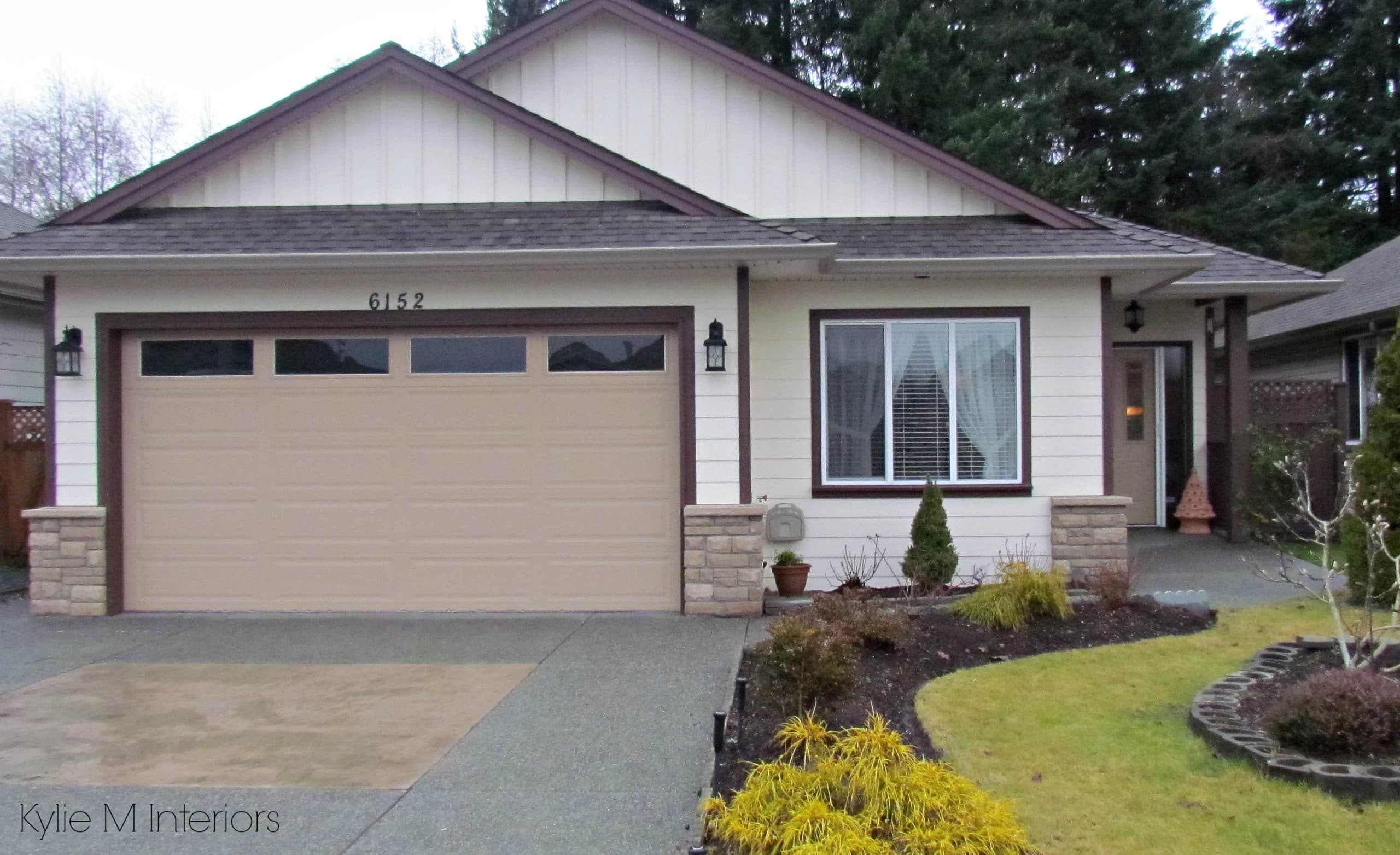 Exterior paint palette facelift with dark trim, cream siding and ...