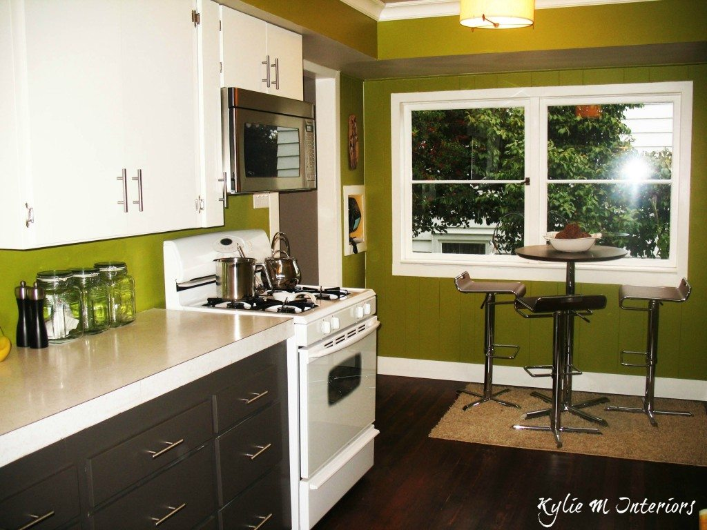 Painted Cabinets Cloud White And Amherst Gray Charcoal With Green Walls In Kitchen And Dark