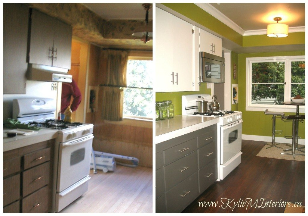 before and after budget friendly kitchen remodel with 2