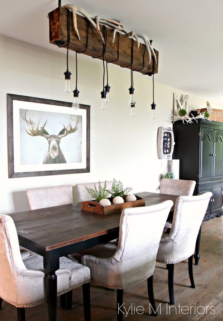 Home decor for a hunting home with farmhouse country style. Rustic chandelier and Grant Beige Benjamin Moore. By Paint Colour Consultant Kylie M Interiors - Copy
