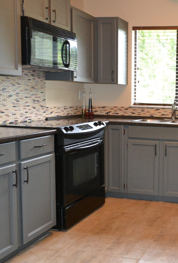 Painted cabinets that were oak using chelsea gray by for Chelsea gray kitchen cabinets