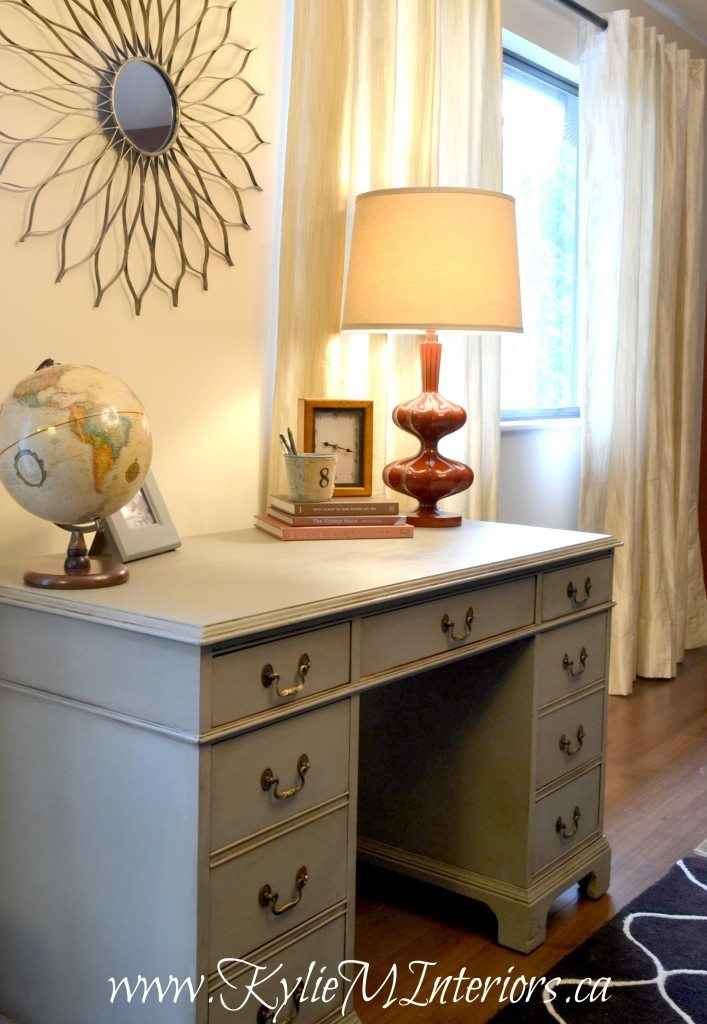 before and after wooden desk painted annie sloan gray french linen with dark wax