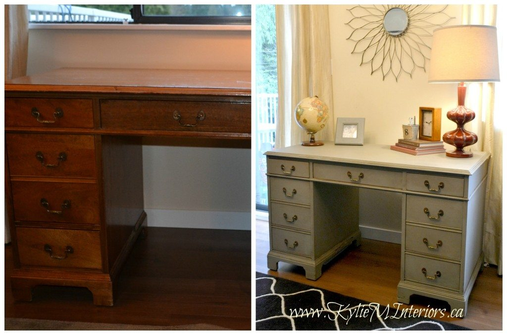 desk before and after annie sloan chalk paint french linen with dark wax