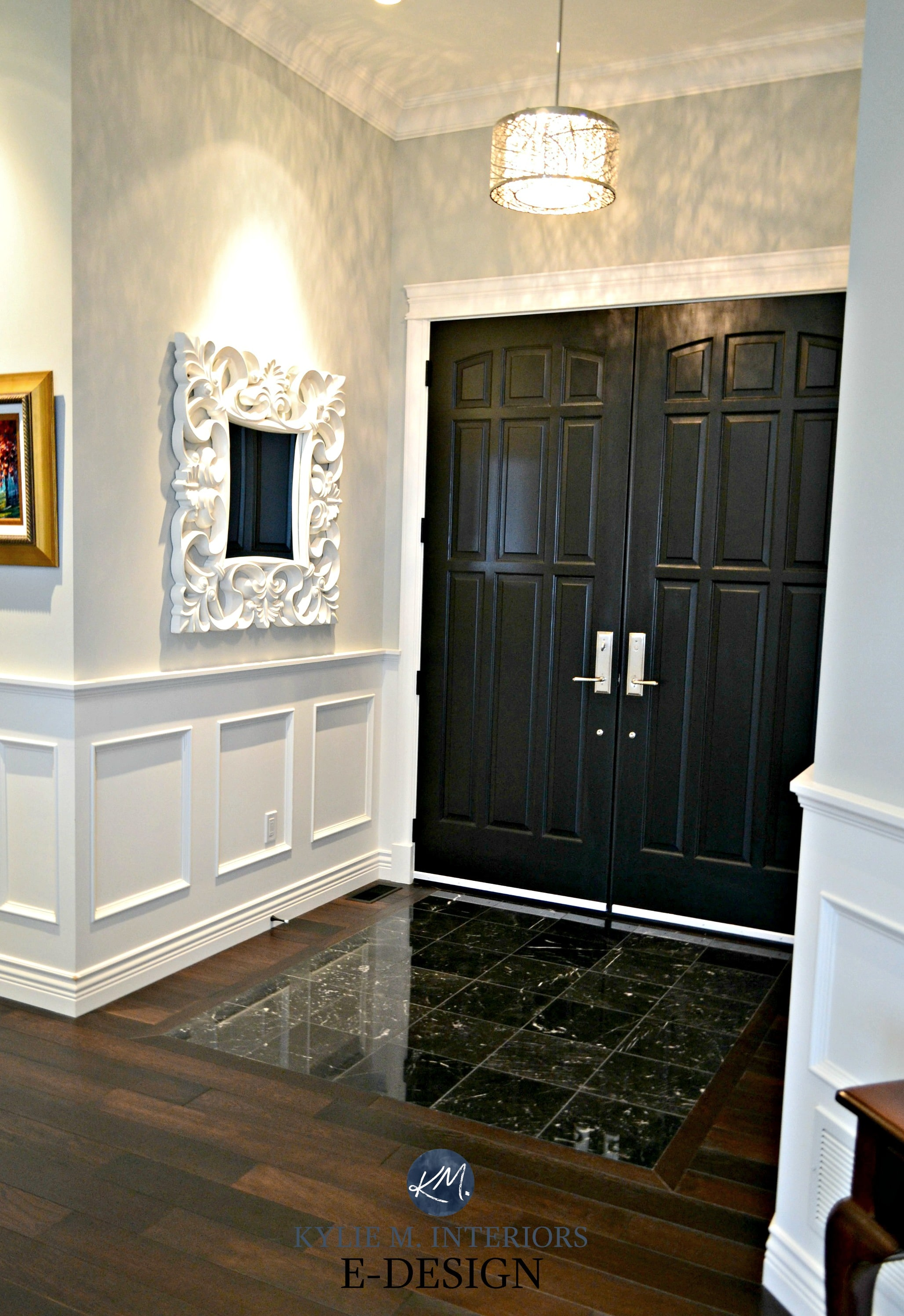 Interior front doors painted black double marble floor with dark