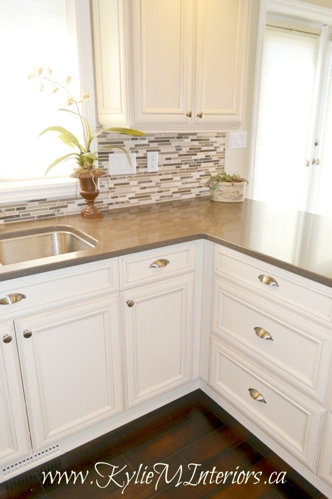 Kitchen Cream And Glazed Cabinets Small Mosaic Tile