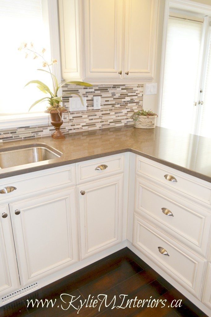 Kitchen Cream Of White And Glazed Cabinets Small Mosaic Tile