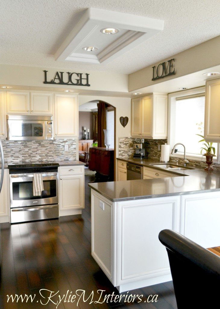 kitchen makeover cream glazed cabinets and grant beige ...