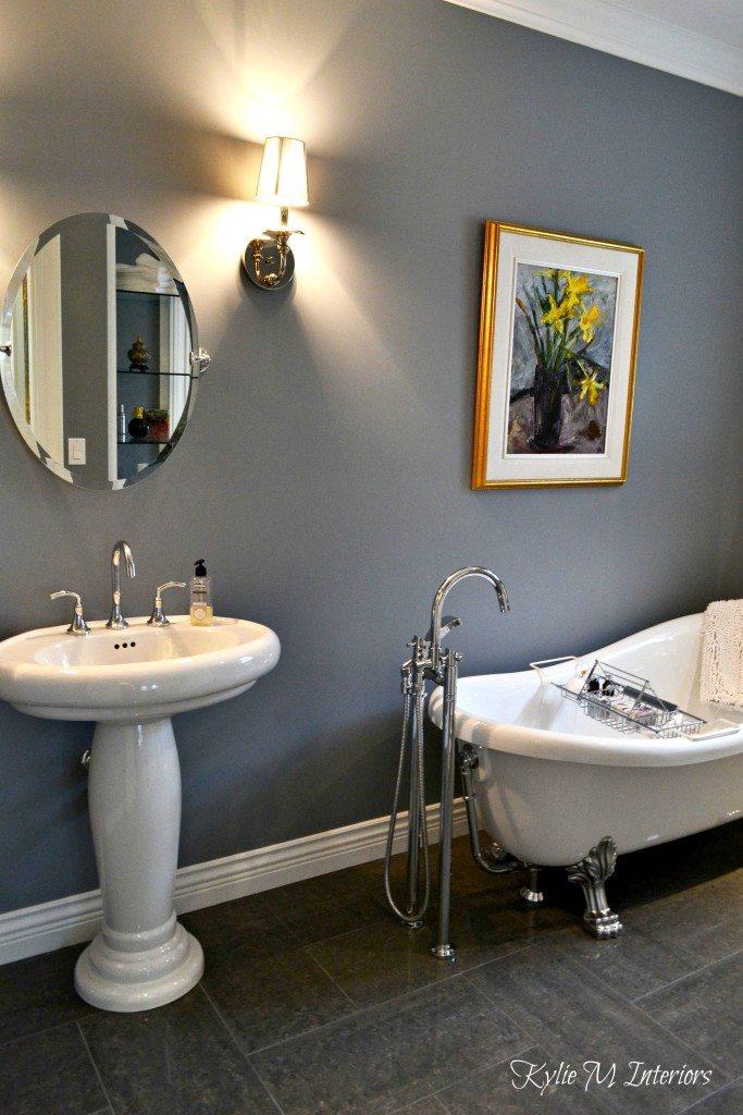 benjamin moore dior gray in bathroom with pedestal sink