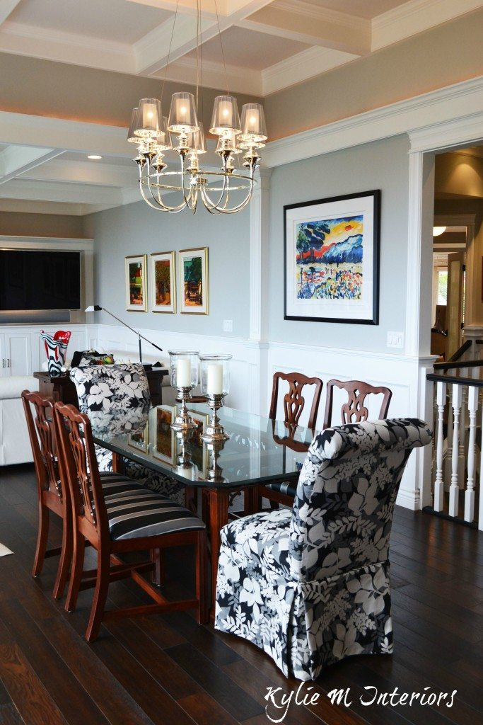 Open concept dining room and living room with coffered - Benjamin moore stonington gray living room ...