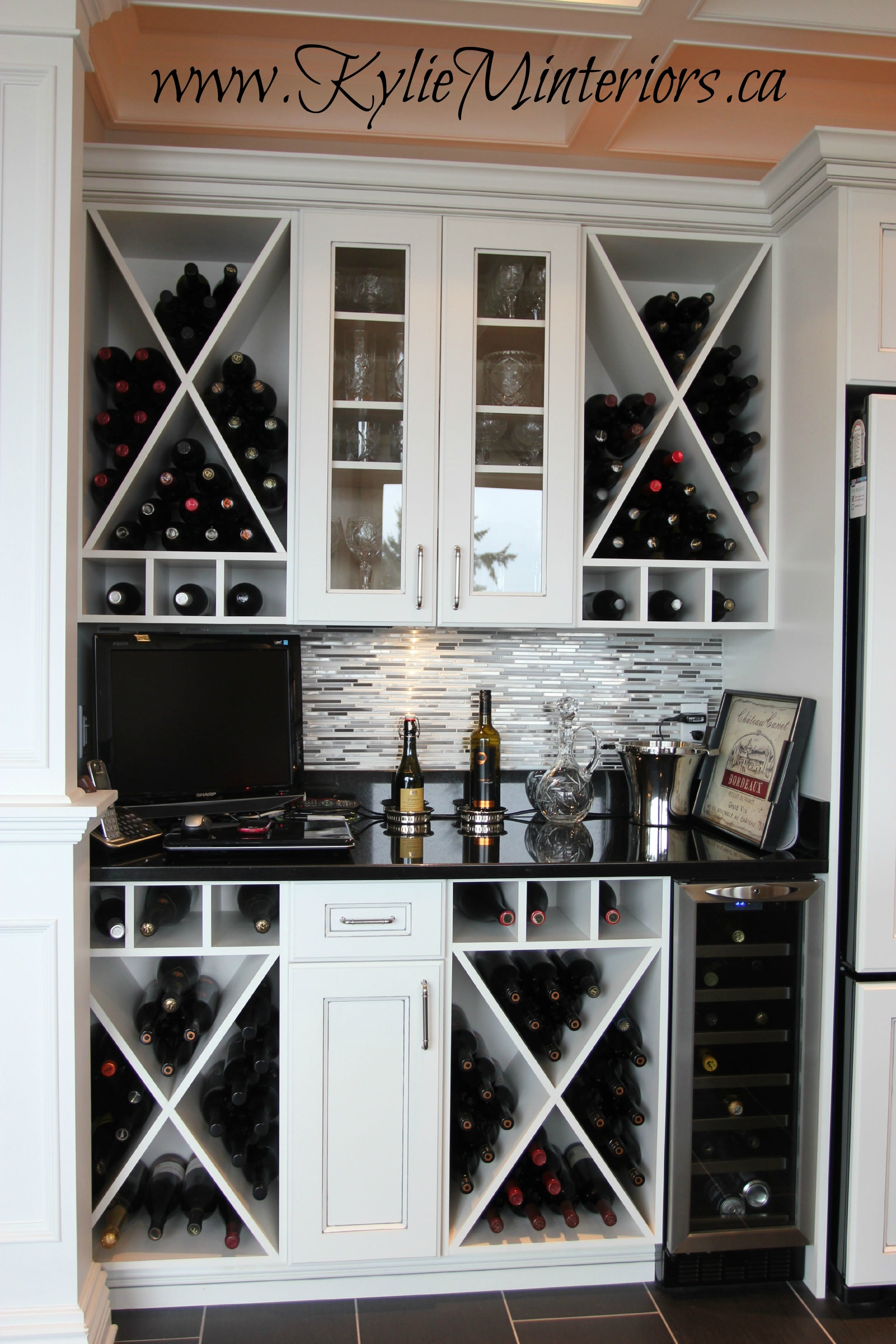 Bar And Wine Station In The Kitchen With Cubbies And Granite
