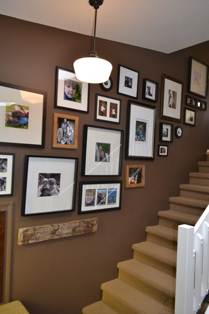 photo display in stairwell or stairway