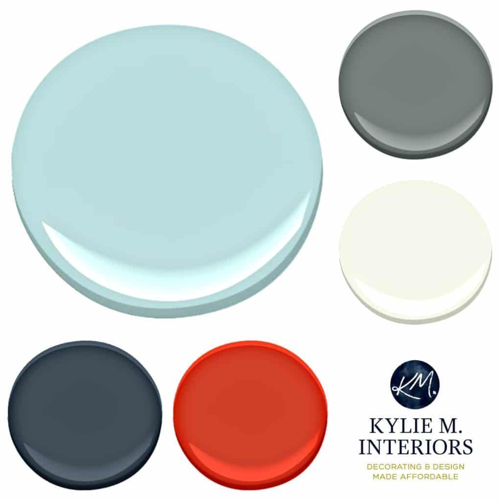 Paint Colour palette ideas for a boys or teenage boy bedroom using Benjamin Moore Arctic Blue with accents. Kylie M INteriors E-design