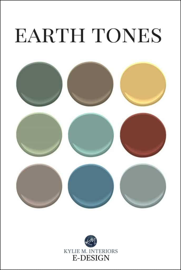 Earth toned paint colours for mixing and matching patterns. Kylie M Interiors Edesign