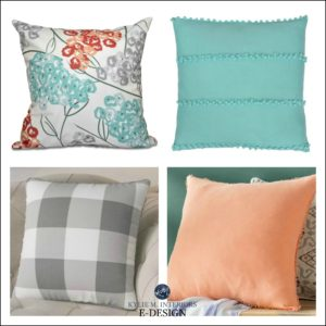 how to mix and match patterns on toss cushions and colours. Teal and coral gray. KYlie M INteriors Edesign, wayfair toss cushions