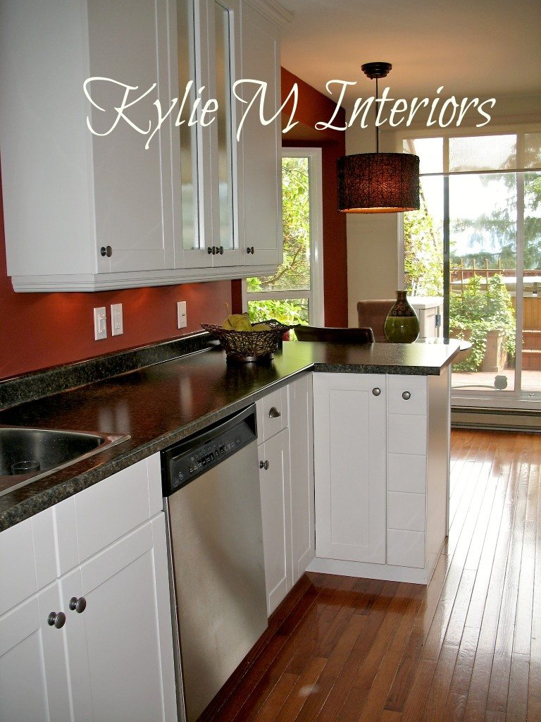 Budget friendly galley kitchen remodel before and afters for White cabinets red walls kitchen