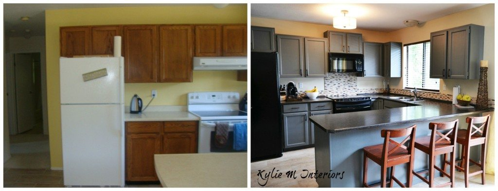 Painted oak kitchen cabinets chelsea gray before and after for Before and after pictures of painted laminate kitchen cabinets