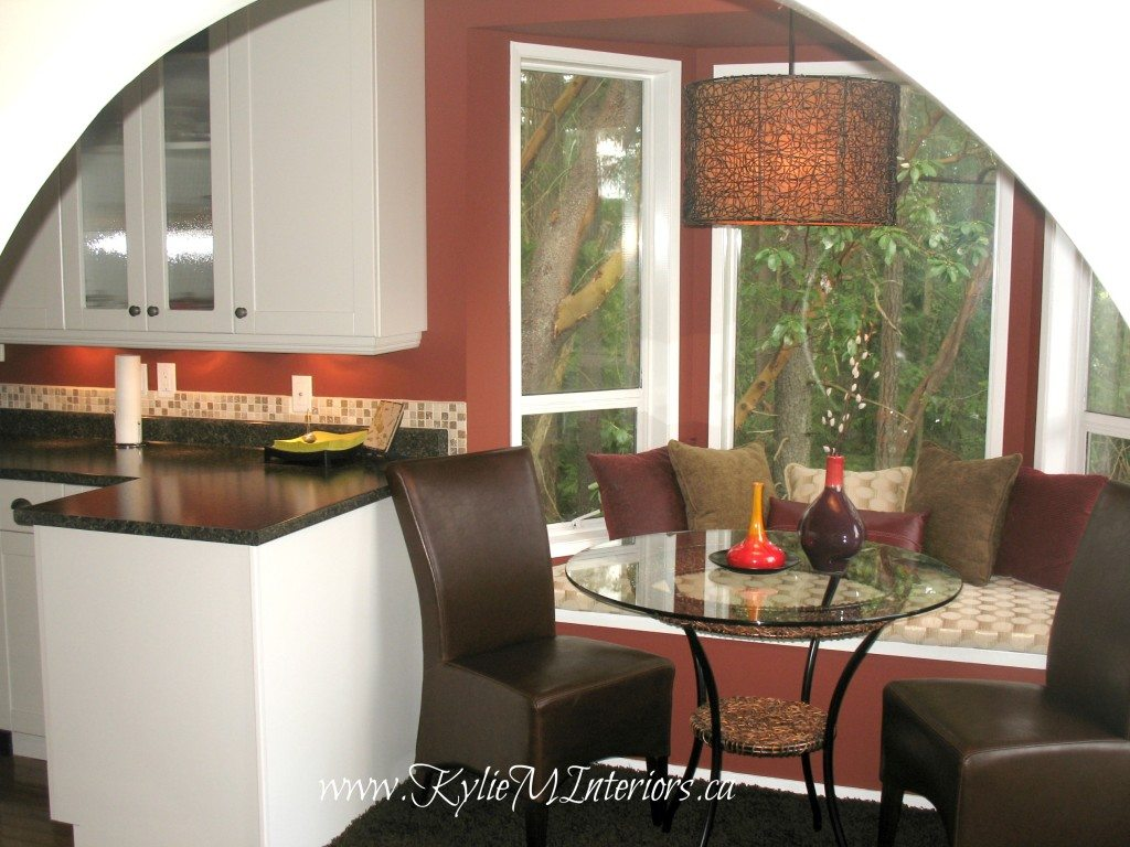White Kitchen Cabinets With Walls Painted Boxcar Red By