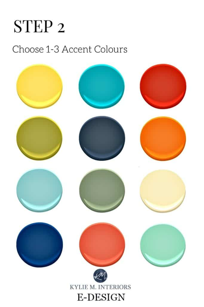 Accent colours and paint colour palettes for gender neutral nursery or baby boy or girl, twins room. Kylie M INteriors