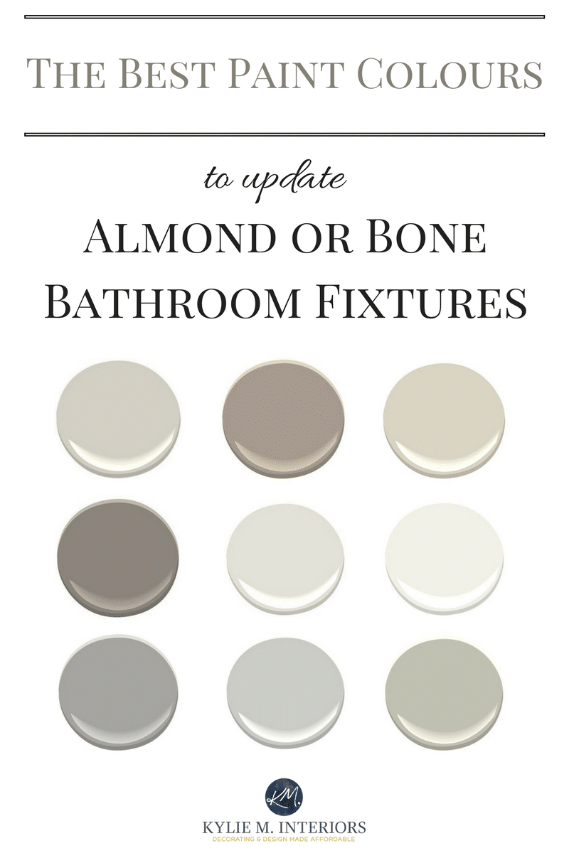 The best paint colours to update a bathroom with almond or - Decorating with almond bathroom fixtures ...