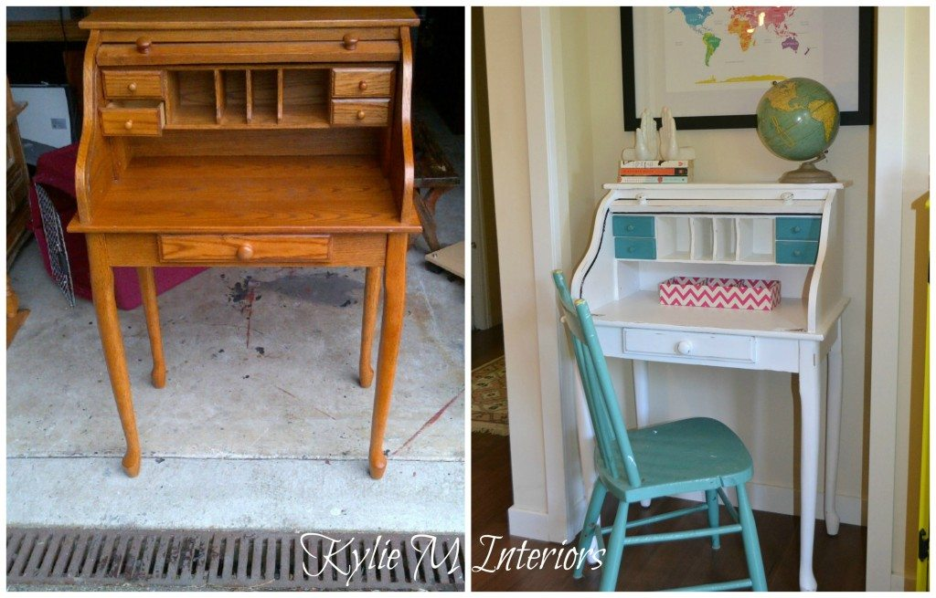 before and after how to paint a roll top desk