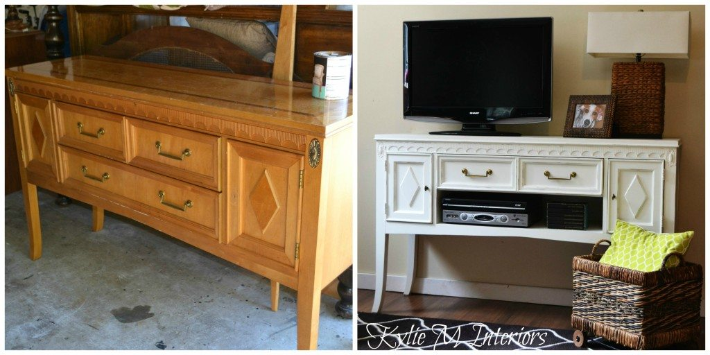 buffet painted cloud white and used as a tv stand befofre and after