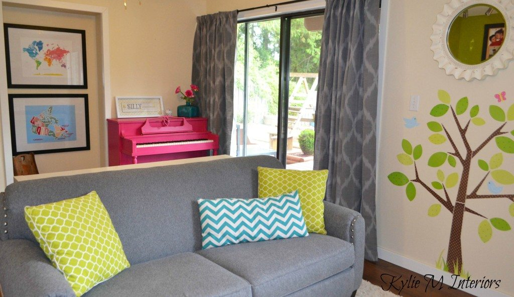 kids playroom idea with gray, navajo white cream by benjamin moore, hot pink, teal, lime green and funky painted pink piano fun ideas