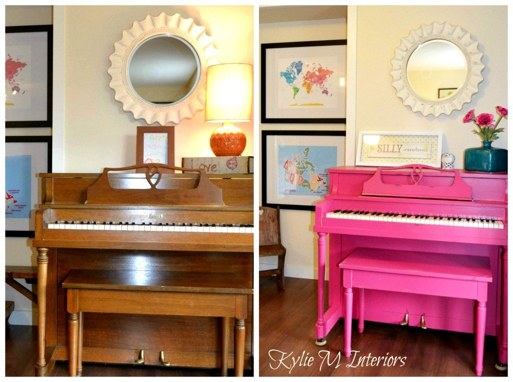 painted piano pink and distressed