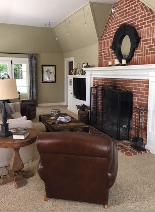 Best paint colour sto go with brick fireplace. Kylie M INteriors E-design, online paint color consulting (1)