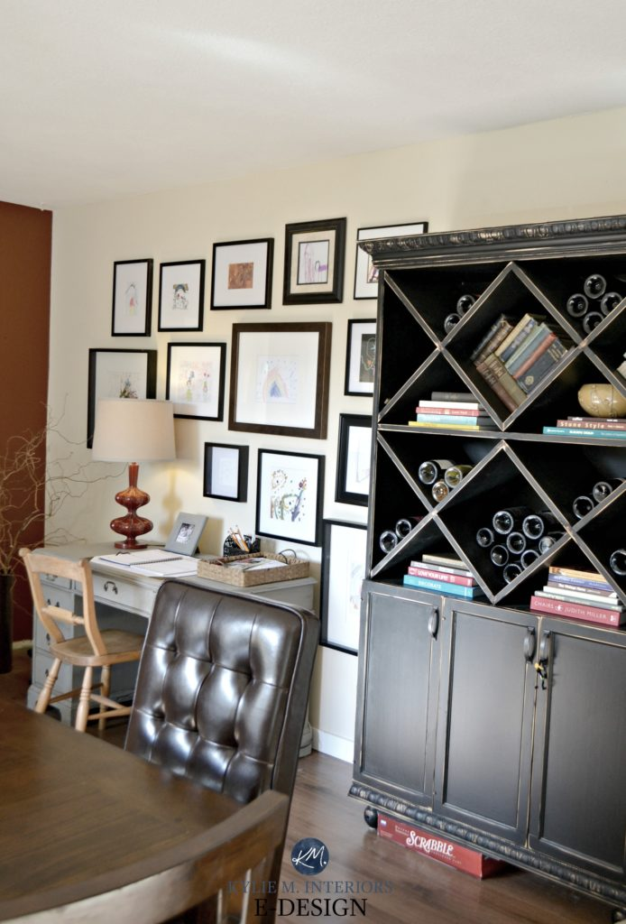 Black painted wine cabinets, kids art gallery wall. Benjamin Moore Gentle Cream. Kylie M Interiors