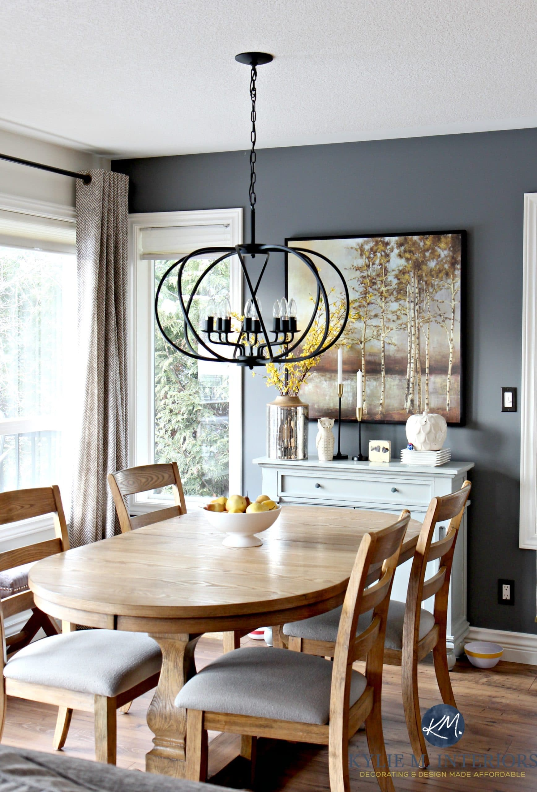 How To Create A Paint Color Palette. Dining Room With Benjamin Moore Steel  Wool And Drum Pendant Part 42