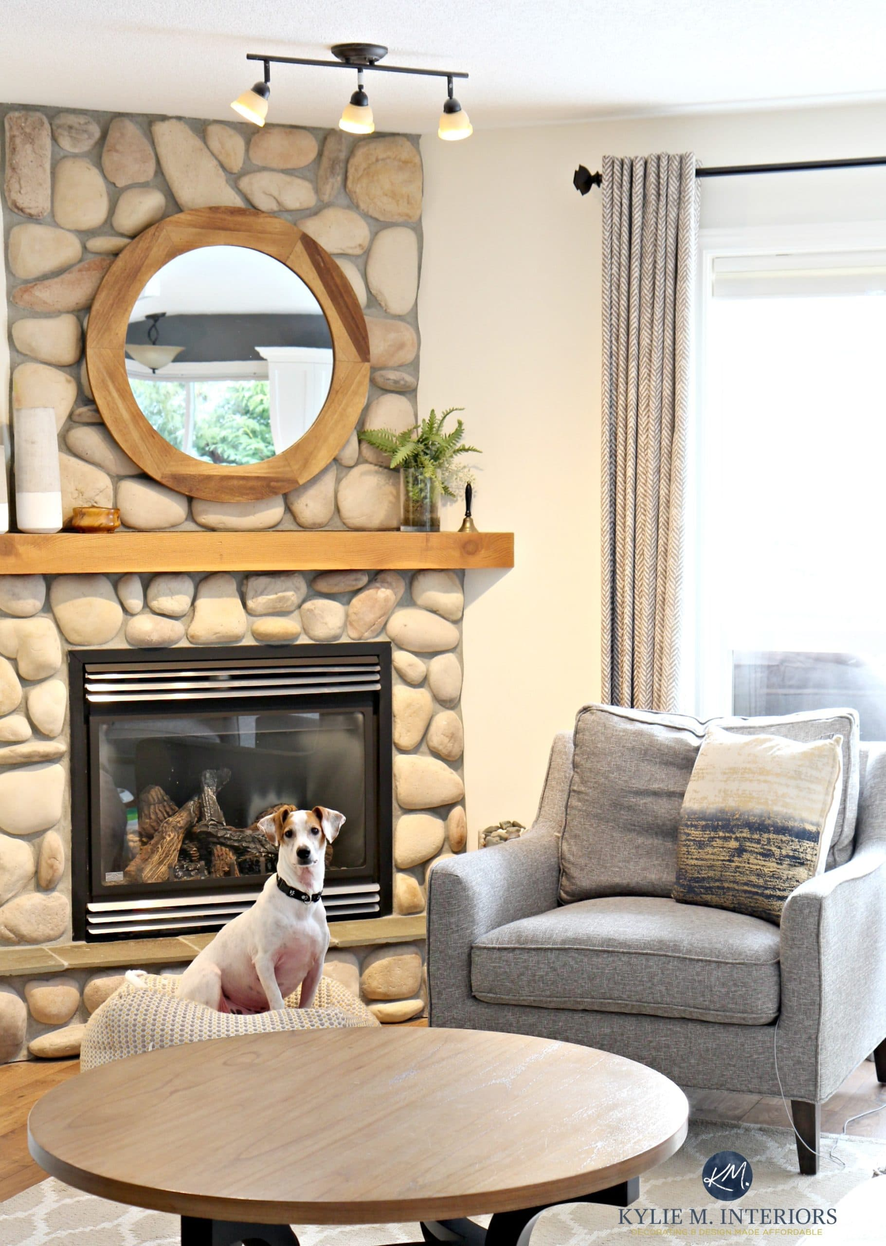 Living room with stone fireplace Sherwin Williams Creamy HOw to
