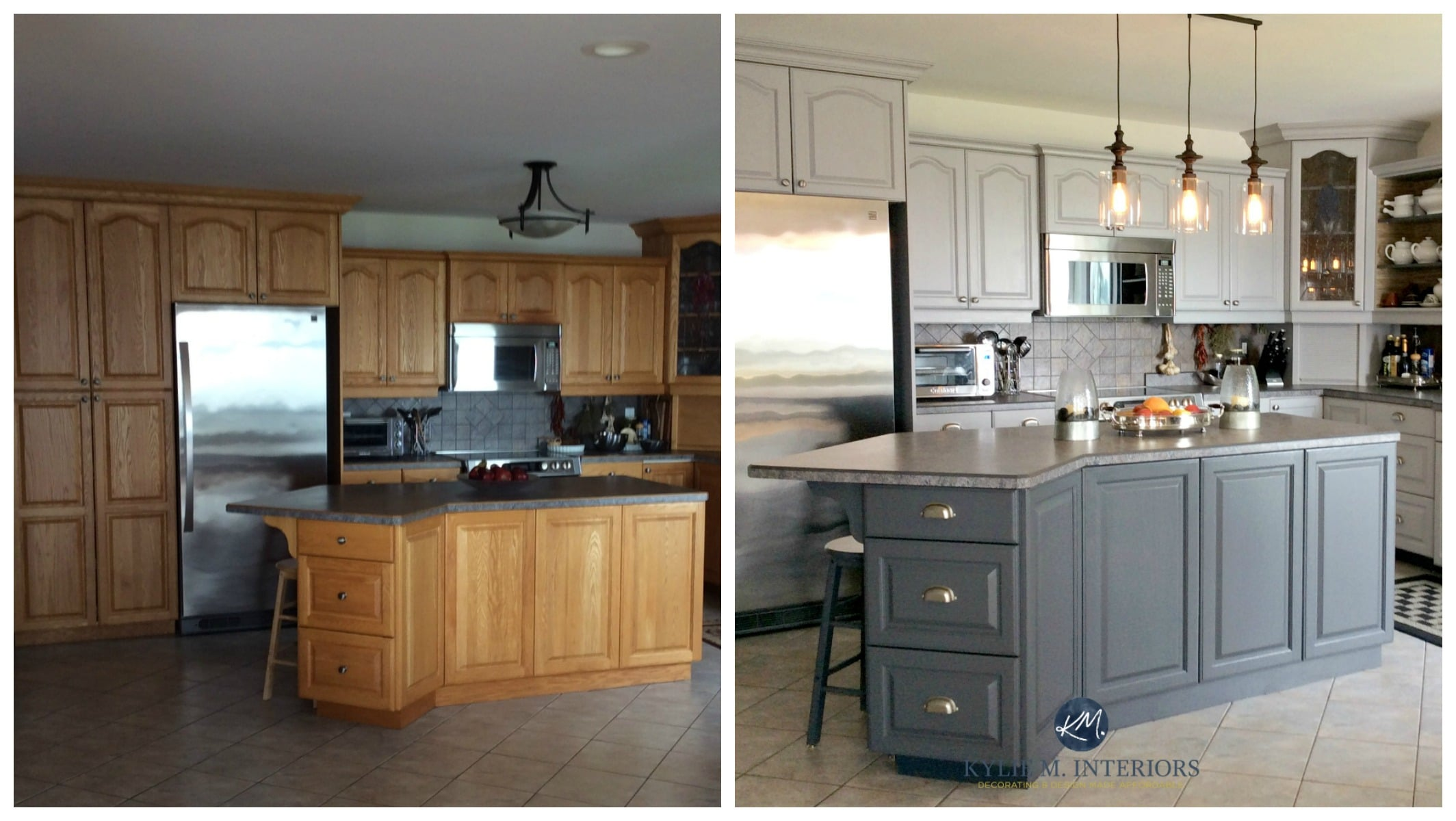 Before and after painted oak kitchen cabinets in gray Kylie M E