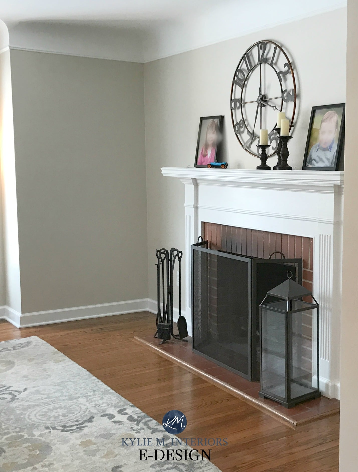 benjamin moore edgecomb gray red brick fireplace white mantel greige paint colour kylie m. Black Bedroom Furniture Sets. Home Design Ideas