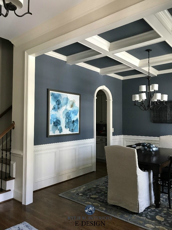 Dining Room, wainscoting, Sherwin Williams Wall Street. Coffered ceilings. Kylie M Interiors E-design, online paint consulting. Client photo