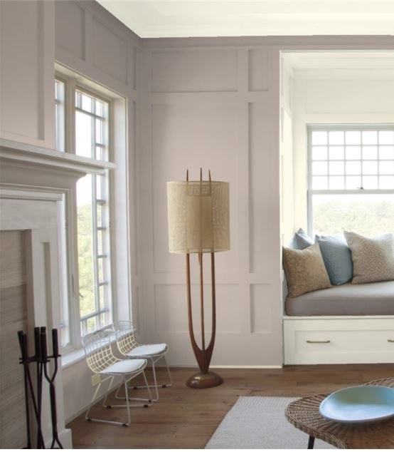 BEnjamin Moore Sandlot Gray, best purple paint colour shown in living room.