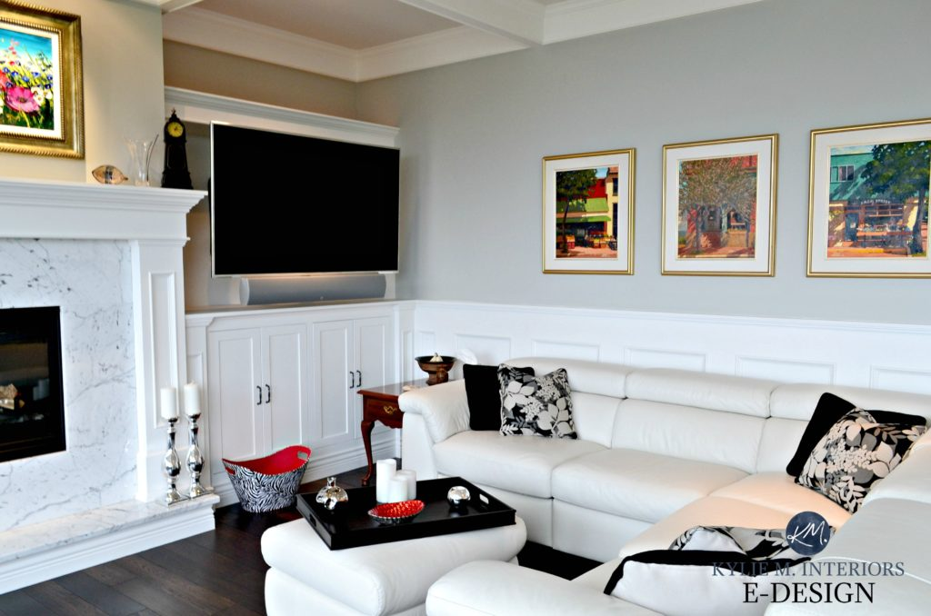 Benjamin Moore Stonington Gray paint colour. White leather sectional, marble fireplace surround, tv, built ins, coffered ceiling, Kylie M Designs, E-design