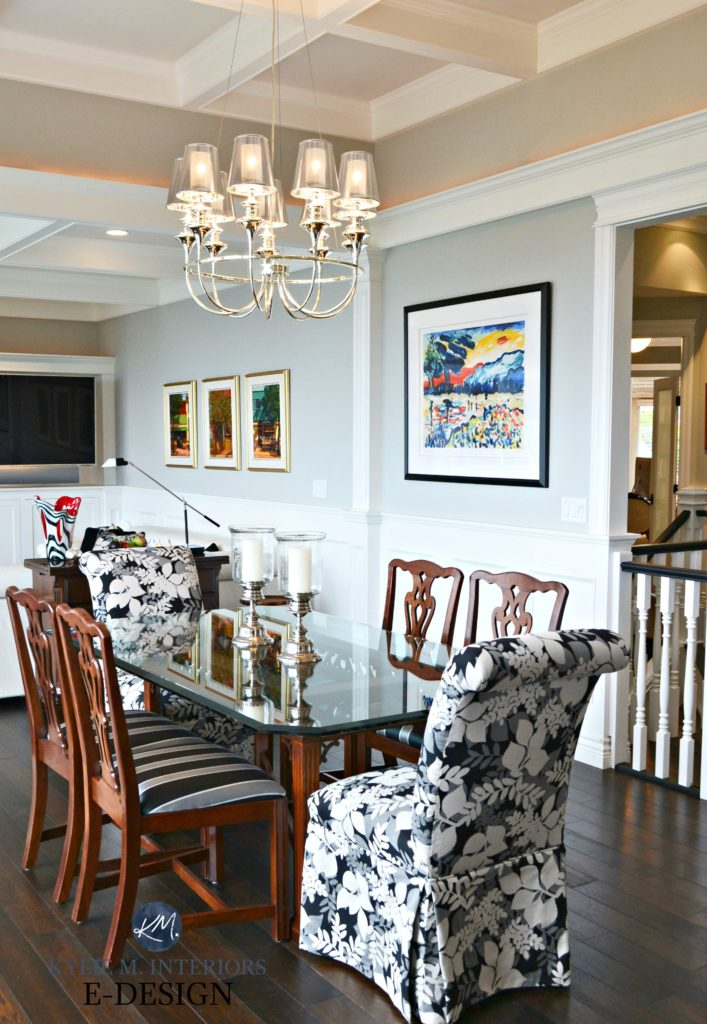 Contemporary mix traditional dining room. Benjamin Moore Stonington Gray, wainscoting, chandelier, dark wood floor, coffered ceilings. KYlie M interiors E-design
