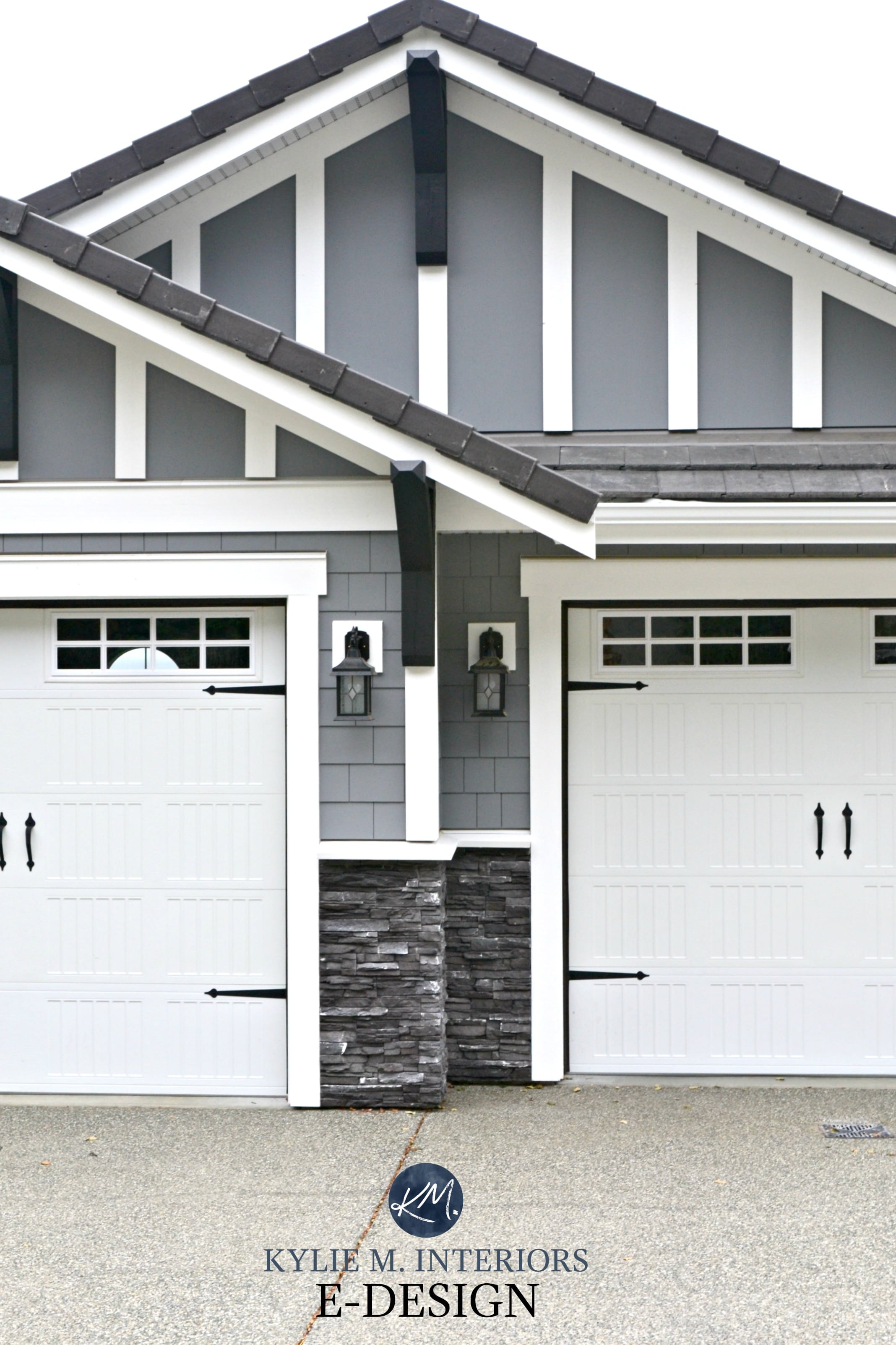Charmant Exterior Paint Colour Dark Gray, Similar To BEnjamin Moore Dior Gray, White  Trim, Garage Doors, Dark Gray Charcoal Ledgestone. Kylie M E Design, ...