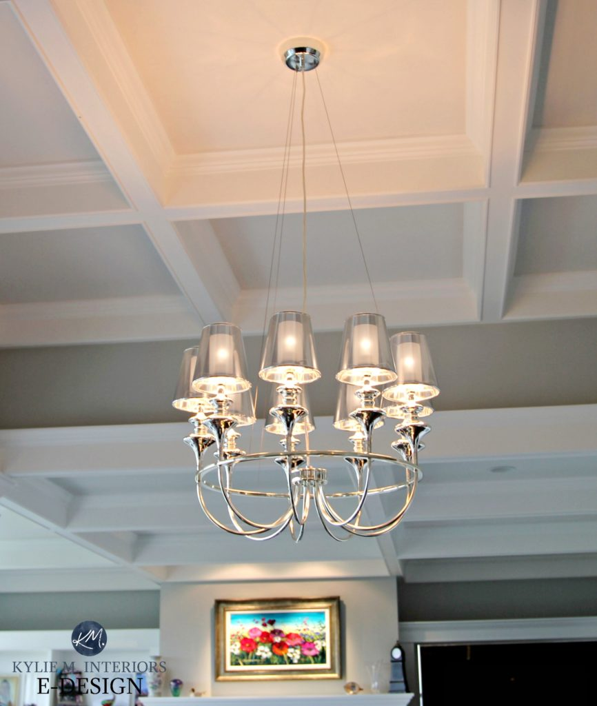 Glam chrome chandelier with coffered ceilings. Kylie M Interior E-design