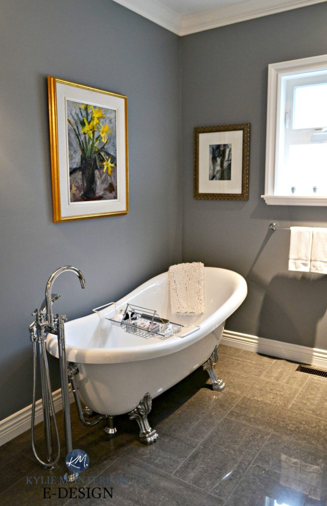Small bathroom free standing clawfoot tub. Benjamin Moore Dior Gray. Kylie M E-design, online paint colour consulting
