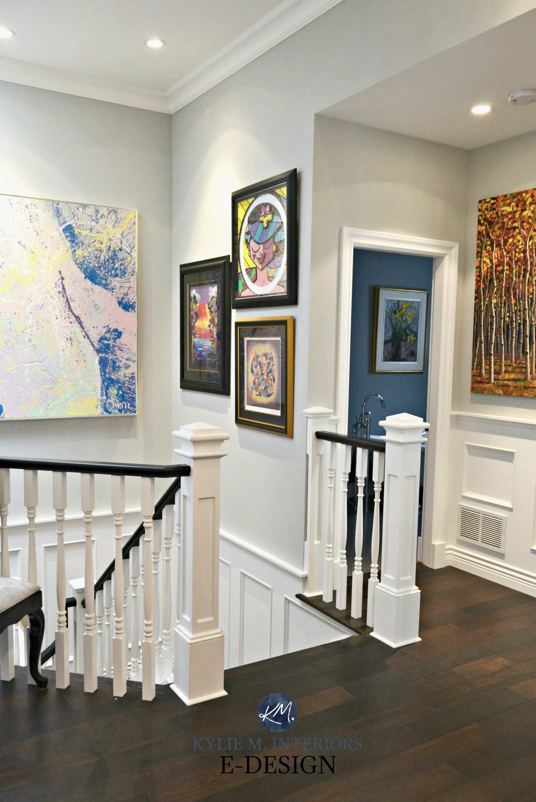 Staircase With White Spindles Black Hand Rail Artwork