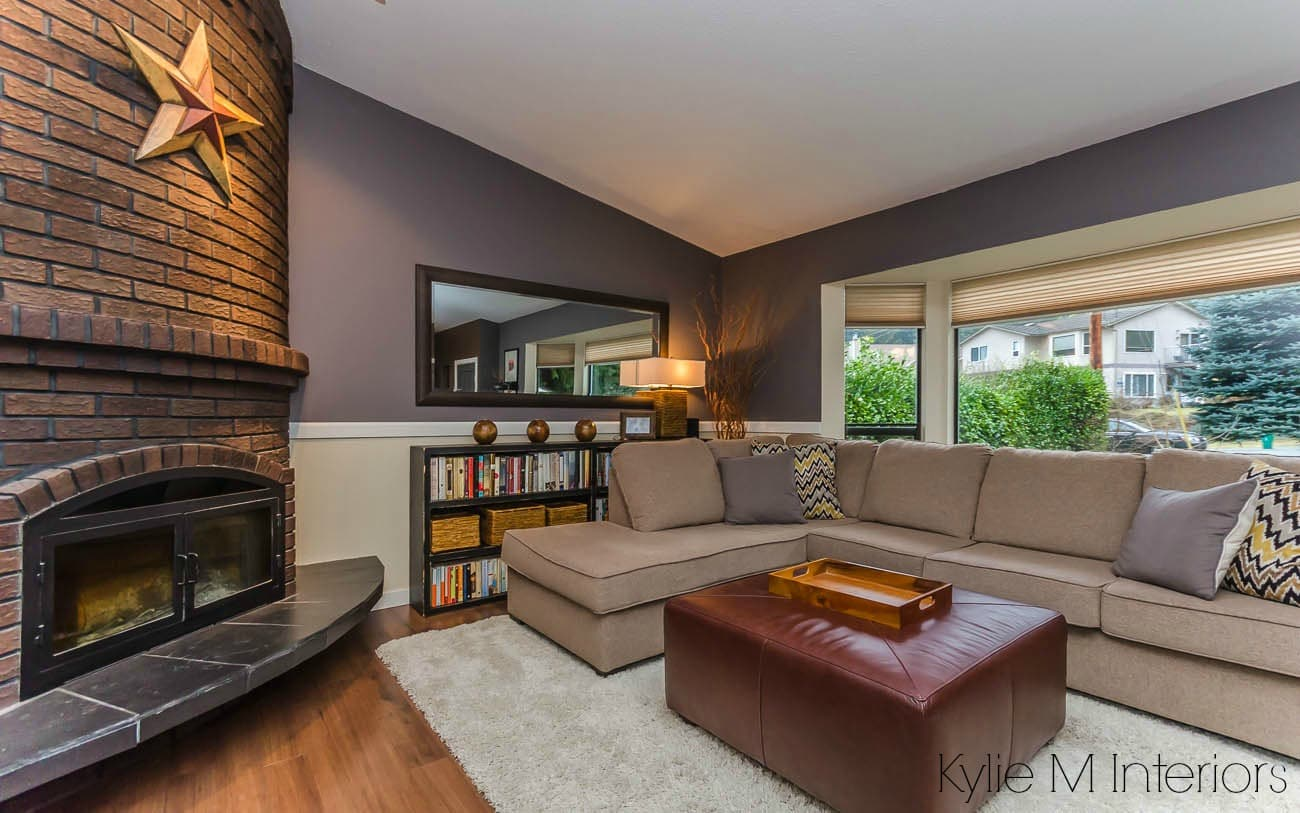 The Best Purple Paint Colour By Benjamin Moore Wet Concrete Shown In Living Room Wtih Brick