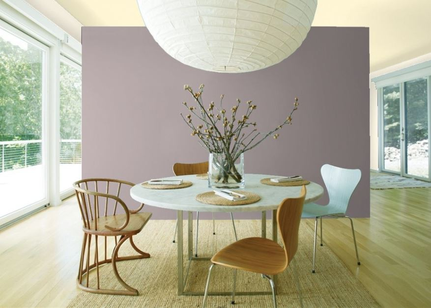 The best purple paint colours, Benjamin Moore Sherwin Williams. Shown in dining room