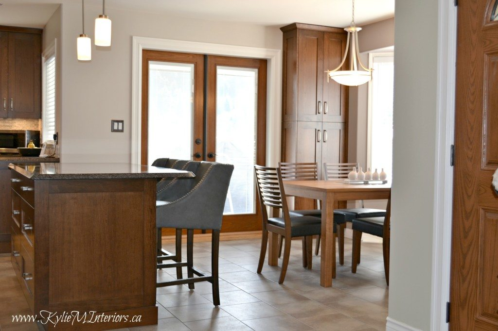 Open Layout Kitchen And Dining Room With Island, Quartz Countertops And  Benjamin Moore Abalone And