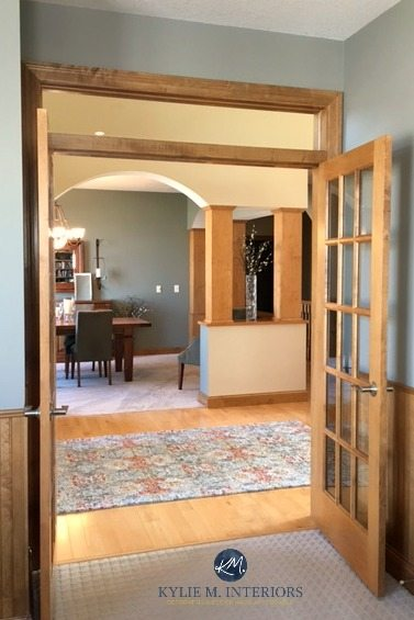 Antique Pewter Benjamin Moore in dining room with wood doors and trim and floor. Kylie M Interiors E-design and Online Colour consulting