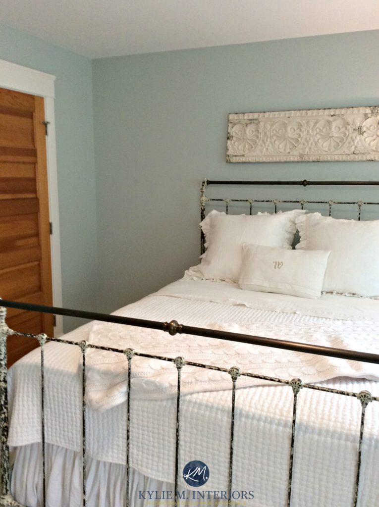 Benjamin Moore Woodlawn Blue, one of the best blue paint colours. Antique metal bed in guest bedroom. Kylie M Interiors E-decor and Online Design and colour expert