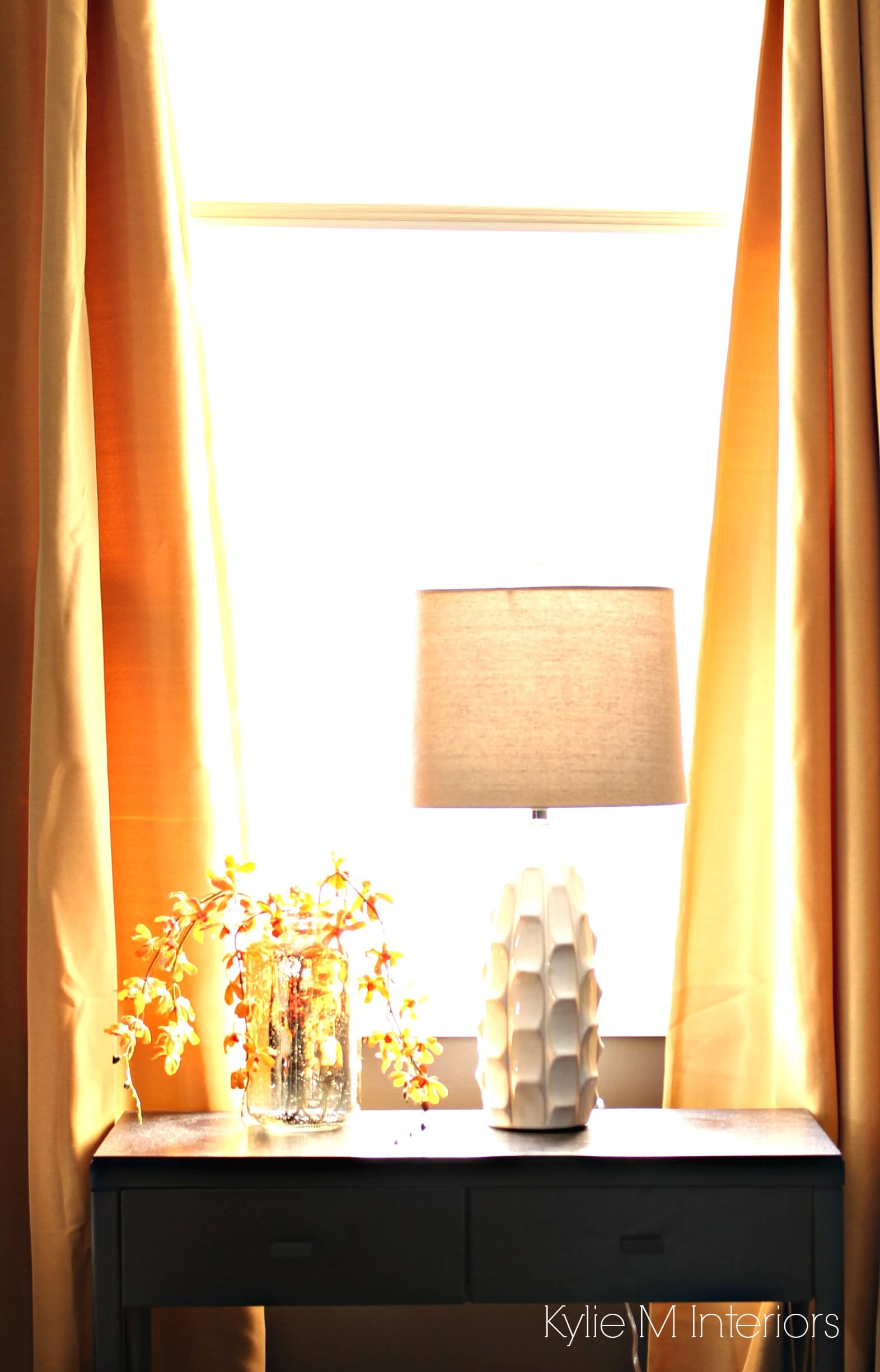 Home Decor In South Facing Bedroom With Dark Brown Gold Yellow
